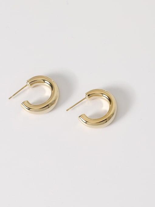 14k Gold [3cm] Brass Smooth Geometric Minimalist Hoop Earring